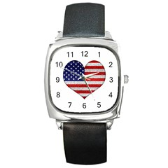 Grunge Heart Shape G8 Flags Square Leather Watch