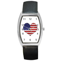 Grunge Heart Shape G8 Flags Tonneau Leather Watch