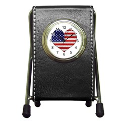 Grunge Heart Shape G8 Flags Stationery Holder Clock