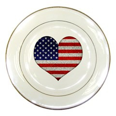 Grunge Heart Shape G8 Flags Porcelain Display Plate