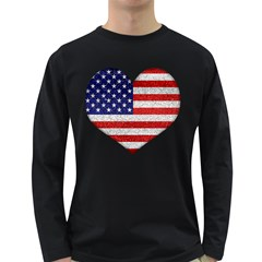 Grunge Heart Shape G8 Flags Men s Long Sleeve T-shirt (Dark Colored)