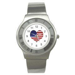 Grunge Heart Shape G8 Flags Stainless Steel Watch (Slim)