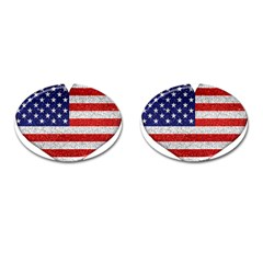 Grunge Heart Shape G8 Flags Cufflinks (Oval)