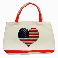 Grunge Heart Shape G8 Flags Classic Tote Bag (Red)