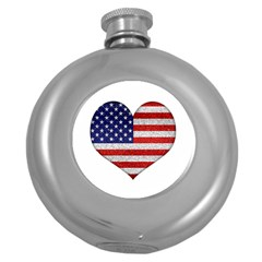 Grunge Heart Shape G8 Flags Hip Flask (round)