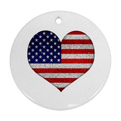 Grunge Heart Shape G8 Flags Round Ornament (Two Sides)