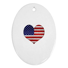 Grunge Heart Shape G8 Flags Oval Ornament (two Sides)