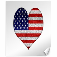 Grunge Heart Shape G8 Flags Canvas 16  x 20  (Unframed)