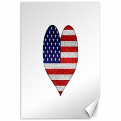 Grunge Heart Shape G8 Flags Canvas 20  x 30  (Unframed)
