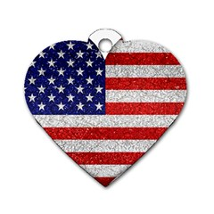 Grunge Heart Shape G8 Flags Dog Tag Heart (Two Sided)