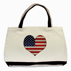Grunge Heart Shape G8 Flags Twin-sided Black Tote Bag