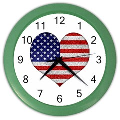 Grunge Heart Shape G8 Flags Wall Clock (Color)