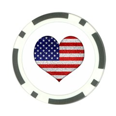 Grunge Heart Shape G8 Flags Poker Chip