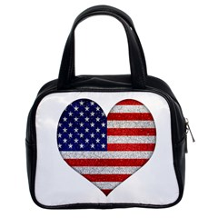 Grunge Heart Shape G8 Flags Classic Handbag (two Sides)