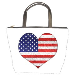 Grunge Heart Shape G8 Flags Bucket Handbag