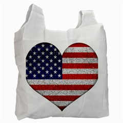 Grunge Heart Shape G8 Flags White Reusable Bag (two Sides)