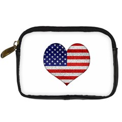 Grunge Heart Shape G8 Flags Digital Camera Leather Case