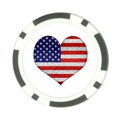Grunge Heart Shape G8 Flags Poker Chip (10 Pack)