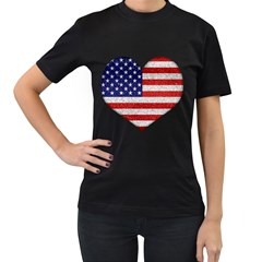 Grunge Heart Shape G8 Flags Women s T Shirt (black)