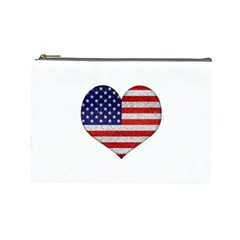 Grunge Heart Shape G8 Flags Cosmetic Bag (Large)