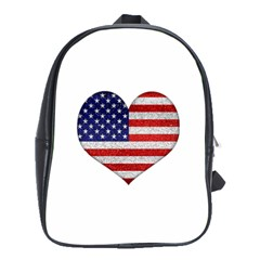 Grunge Heart Shape G8 Flags School Bag (Large)