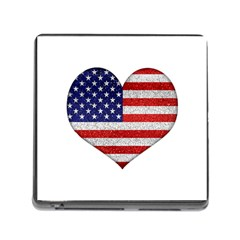 Grunge Heart Shape G8 Flags Memory Card Reader with Storage (Square)