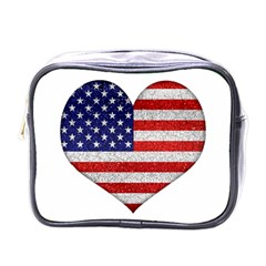 Grunge Heart Shape G8 Flags Mini Travel Toiletry Bag (One Side)