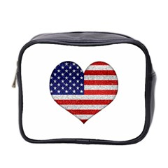 Grunge Heart Shape G8 Flags Mini Travel Toiletry Bag (Two Sides)