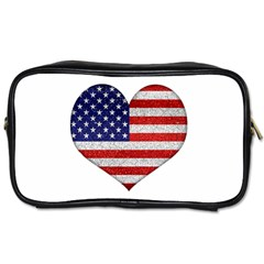 Grunge Heart Shape G8 Flags Travel Toiletry Bag (One Side)