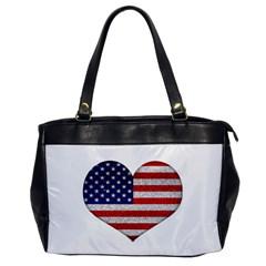 Grunge Heart Shape G8 Flags Oversize Office Handbag (one Side)