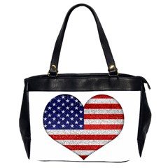 Grunge Heart Shape G8 Flags Oversize Office Handbag (Two Sides)