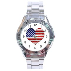 Grunge Heart Shape G8 Flags Stainless Steel Watch