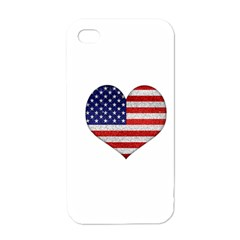Grunge Heart Shape G8 Flags Apple Iphone 4 Case (white)