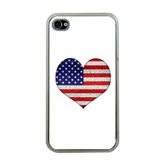 Grunge Heart Shape G8 Flags Apple iPhone 4 Case (Clear)