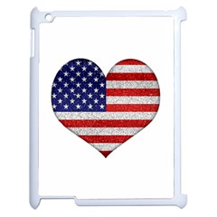Grunge Heart Shape G8 Flags Apple iPad 2 Case (White)
