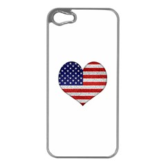 Grunge Heart Shape G8 Flags Apple iPhone 5 Case (Silver)