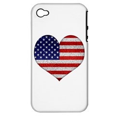 Grunge Heart Shape G8 Flags Apple iPhone 4/4S Hardshell Case (PC+Silicone)