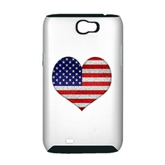 Grunge Heart Shape G8 Flags Samsung Galaxy Note 2 Hardshell Case (PC+Silicone)