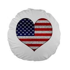 Grunge Heart Shape G8 Flags 15  Premium Round Cushion