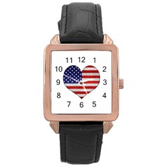 Grunge Heart Shape G8 Flags Rose Gold Leather Watch