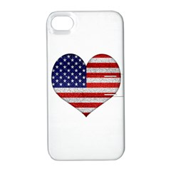 Grunge Heart Shape G8 Flags Apple iPhone 4/4S Hardshell Case with Stand