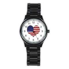 Grunge Heart Shape G8 Flags Sport Metal Watch (Black)