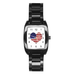 Grunge Heart Shape G8 Flags Stainless Steel Barrel Watch