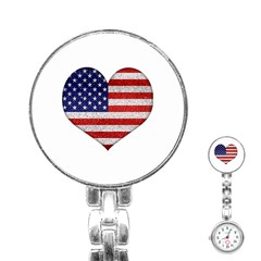 Grunge Heart Shape G8 Flags Stainless Steel Nurses Watch