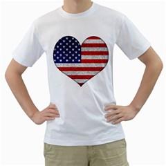 Grunge Heart Shape G8 Flags Men s T-Shirt (White)