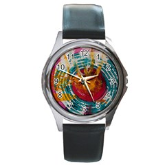 Art Therapy Round Leather Watch (silver Rim)