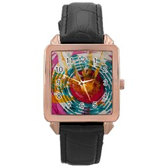 Art Therapy Rose Gold Leather Watch