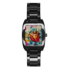 Art Therapy Stainless Steel Barrel Watch
