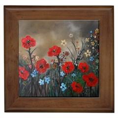 Poppy Garden Framed Ceramic Tile