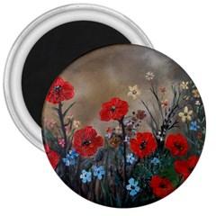 Poppy Garden 3  Button Magnet